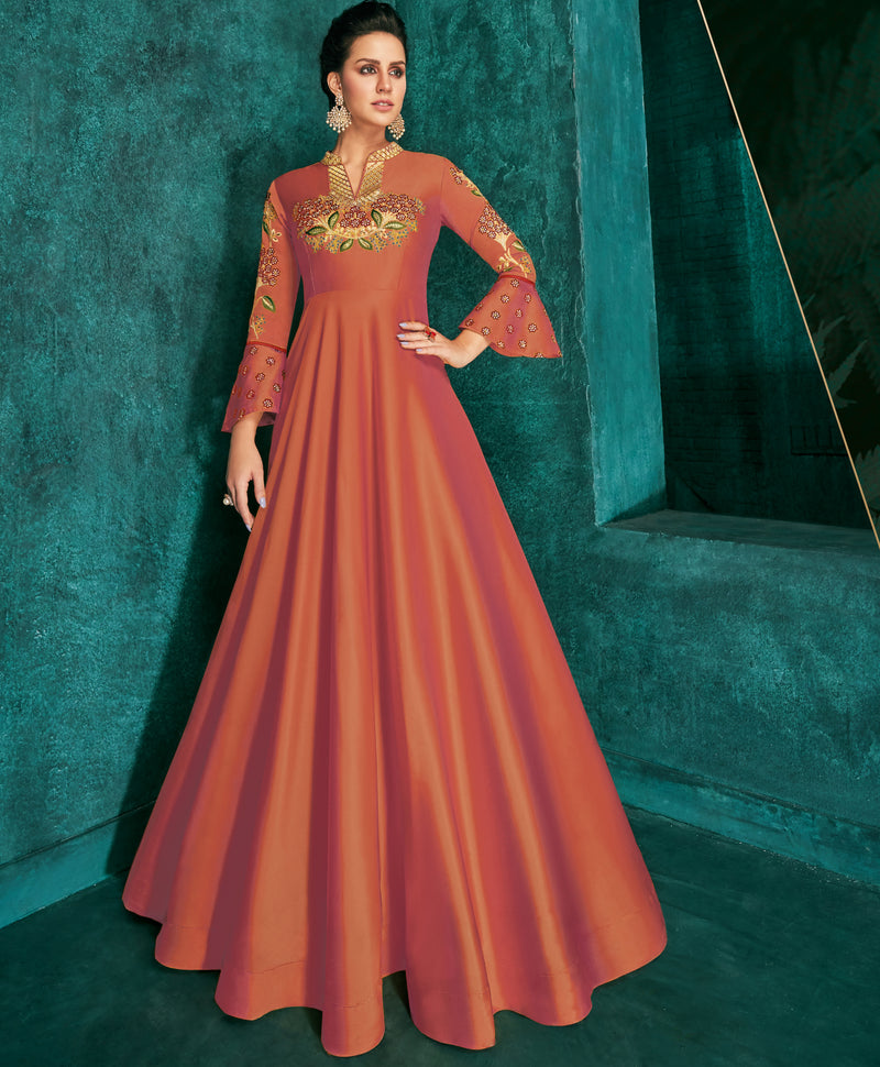 Rust Orange Color Soft Silk Exquisite Festive Gowns NYF-7161
