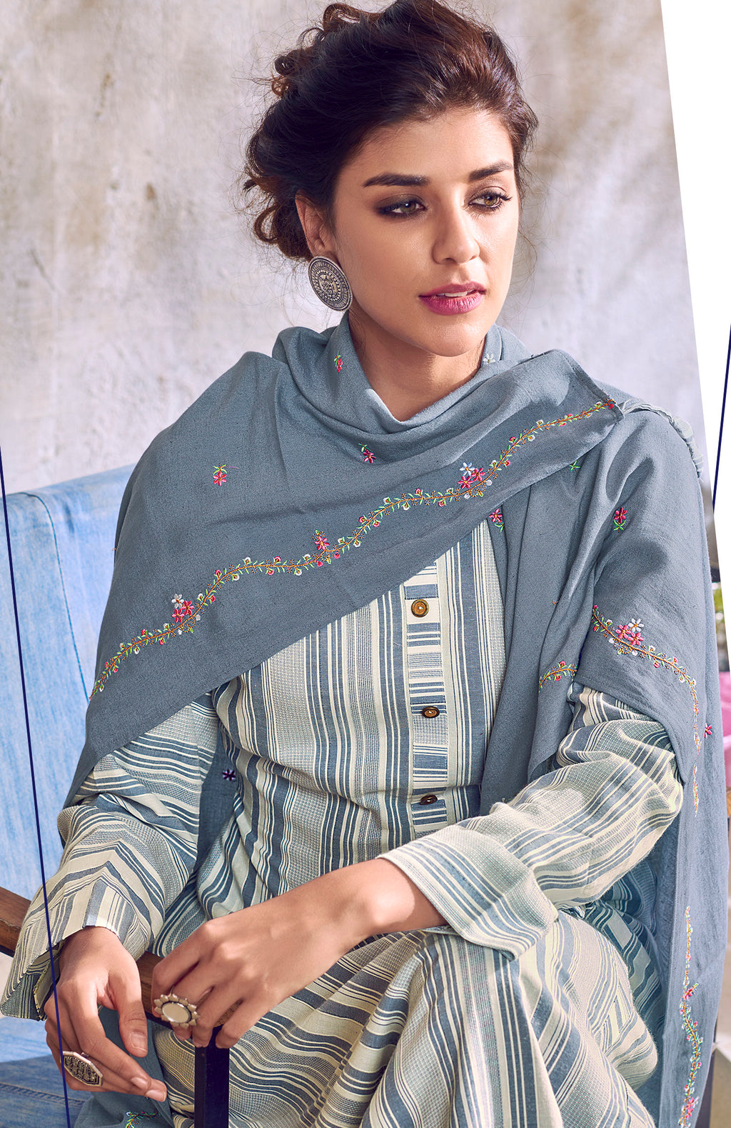 White & Grey Color Handloom Cotton Casual Kurti With Scarf NYF-6036