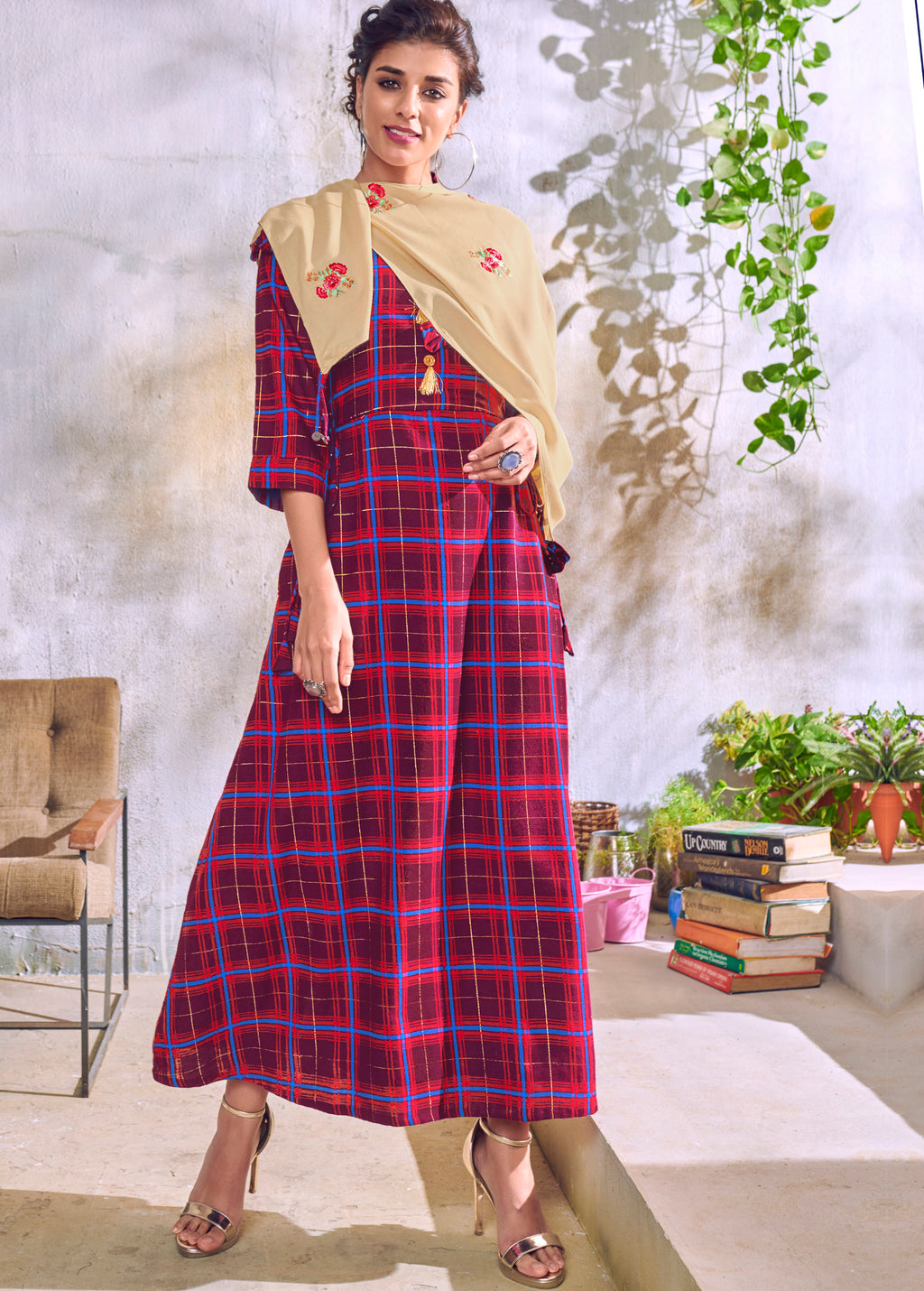 Purple Color Handloom Cotton Casual Kurti With Scarf NYF-6040