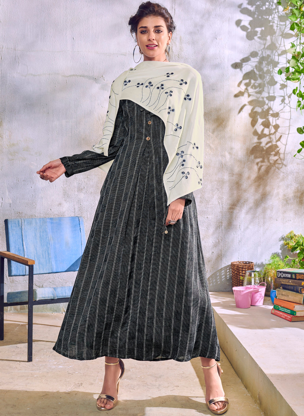 Black Color Handloom Cotton Casual Kurti With Scarf NYF-6044