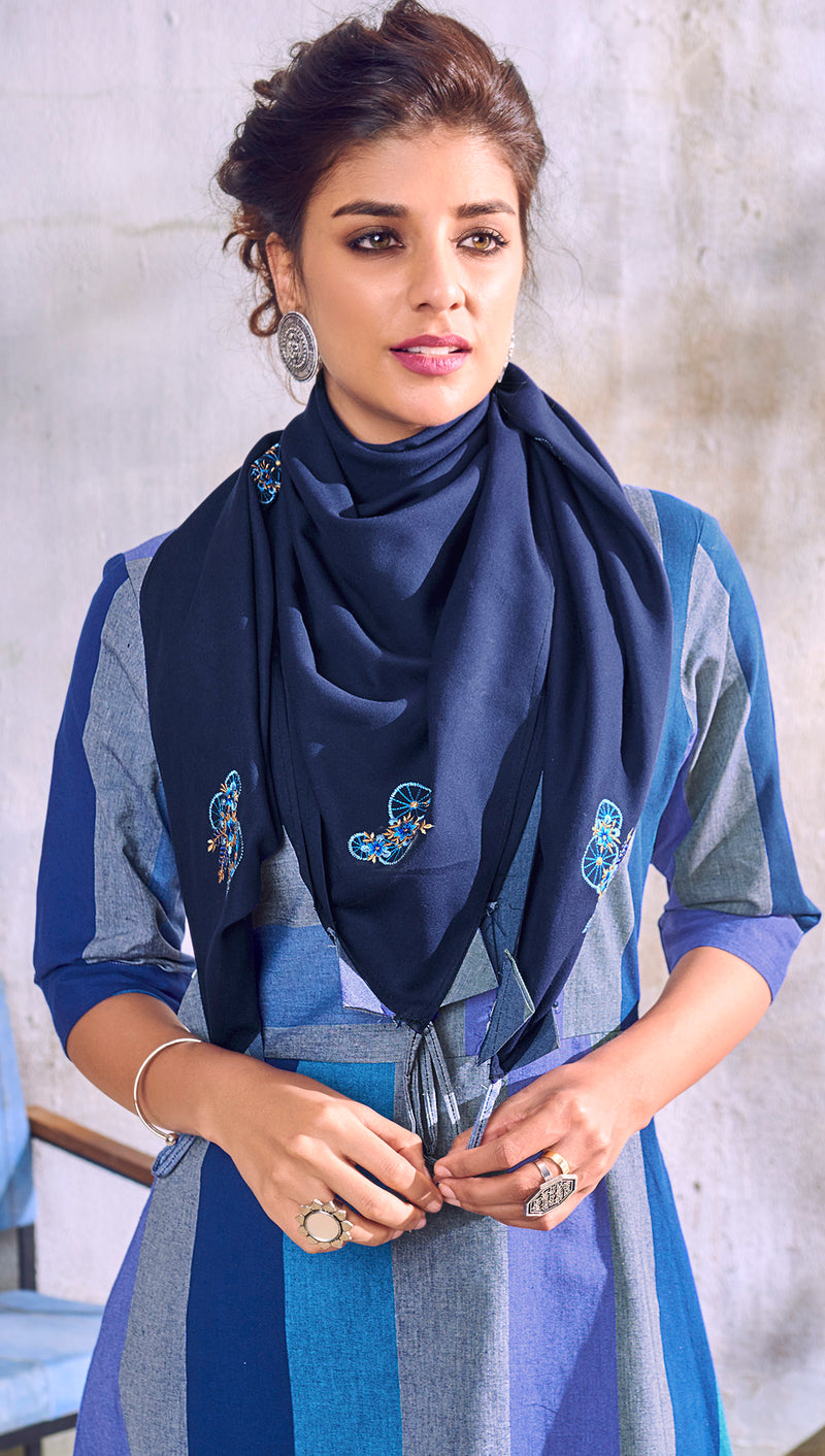 Blue Color Handloom Cotton Casual Kurti With Scarf NYF-6052