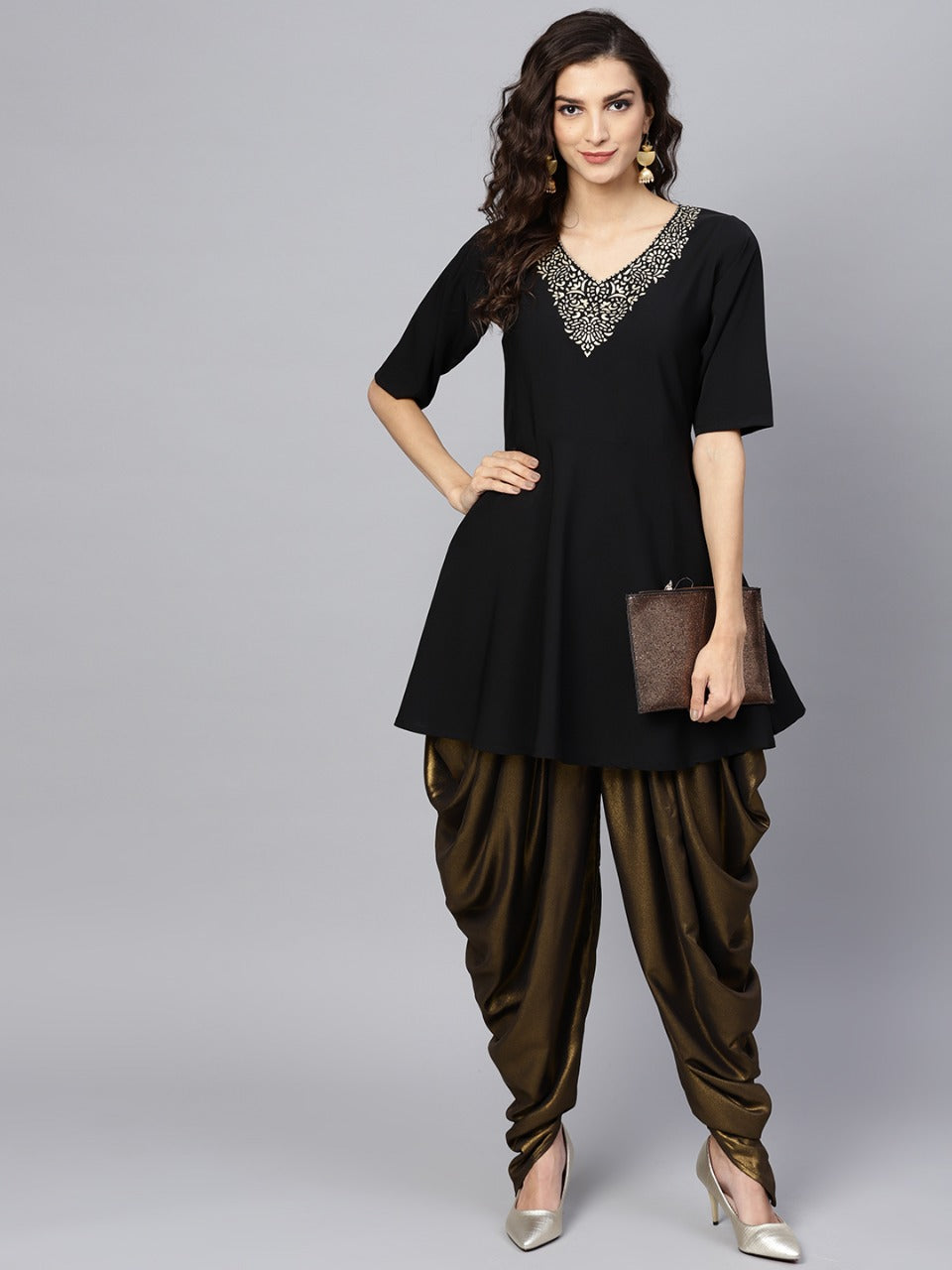 Black Color Crepe Trendy Kurti With Bottom NYF-5926