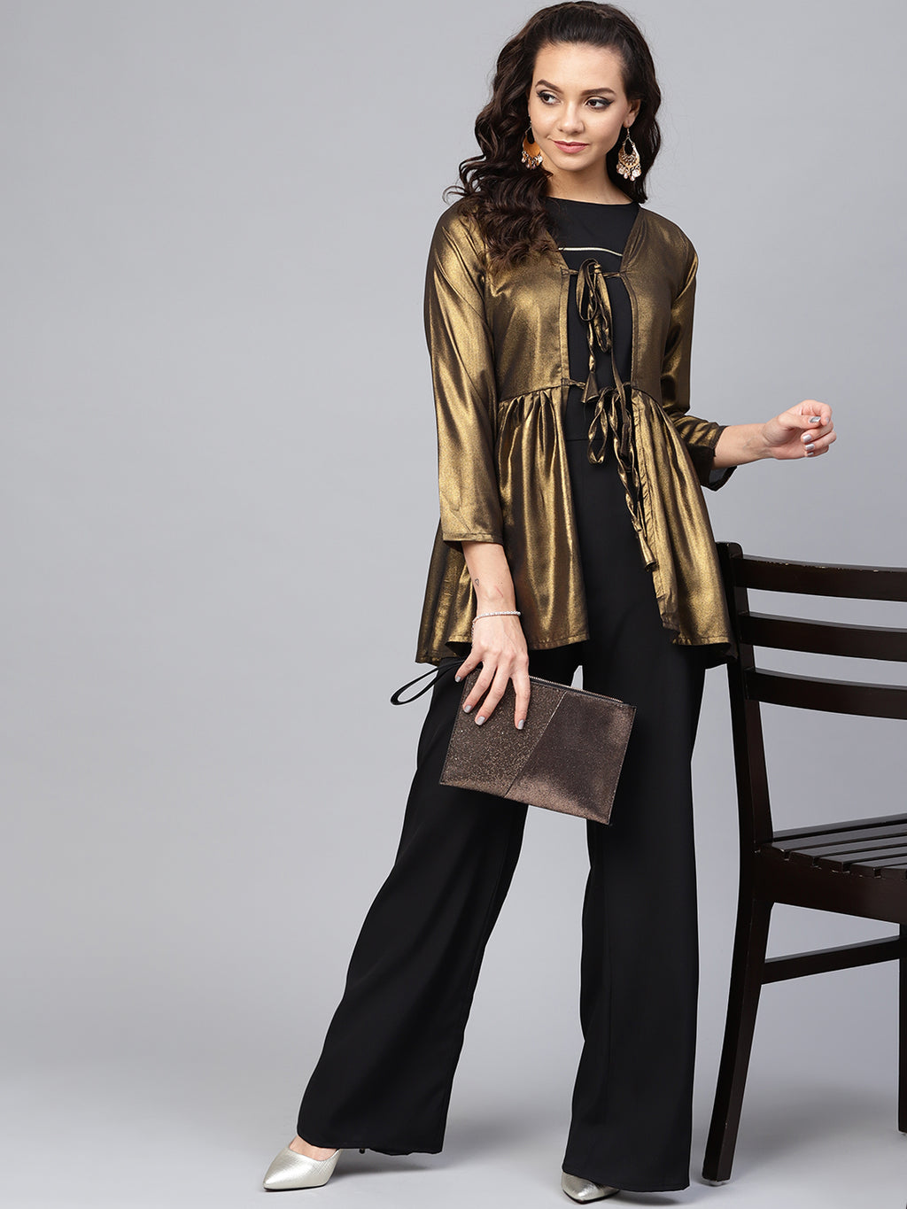Black Color Crepe Trendy Kurti With Bottom & Jacket NYF-5931