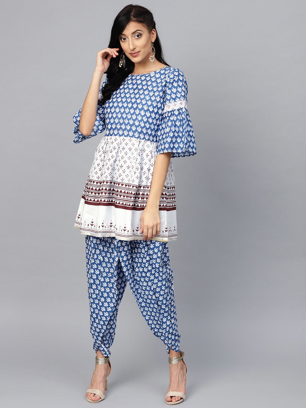 Blue & White Color Cotton Trendy Kurti With Bottom NYF-5951