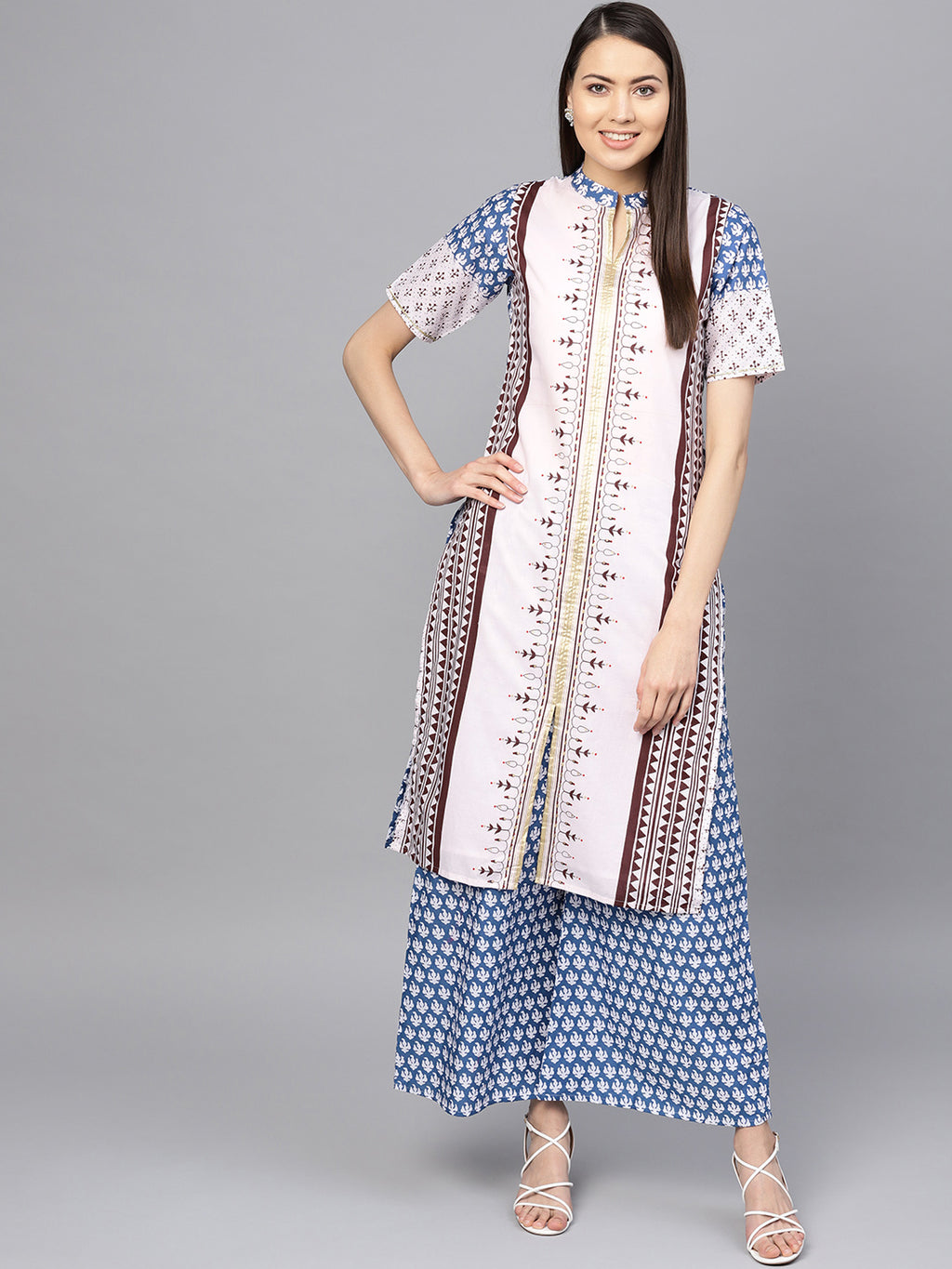 White & Blue Color Cotton  Printed Kurti With Bottom NYF-5966