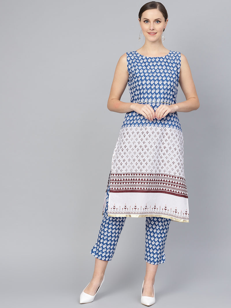 Blue & White Color Cotton  Printed Kurti With Bottom NYF-5971