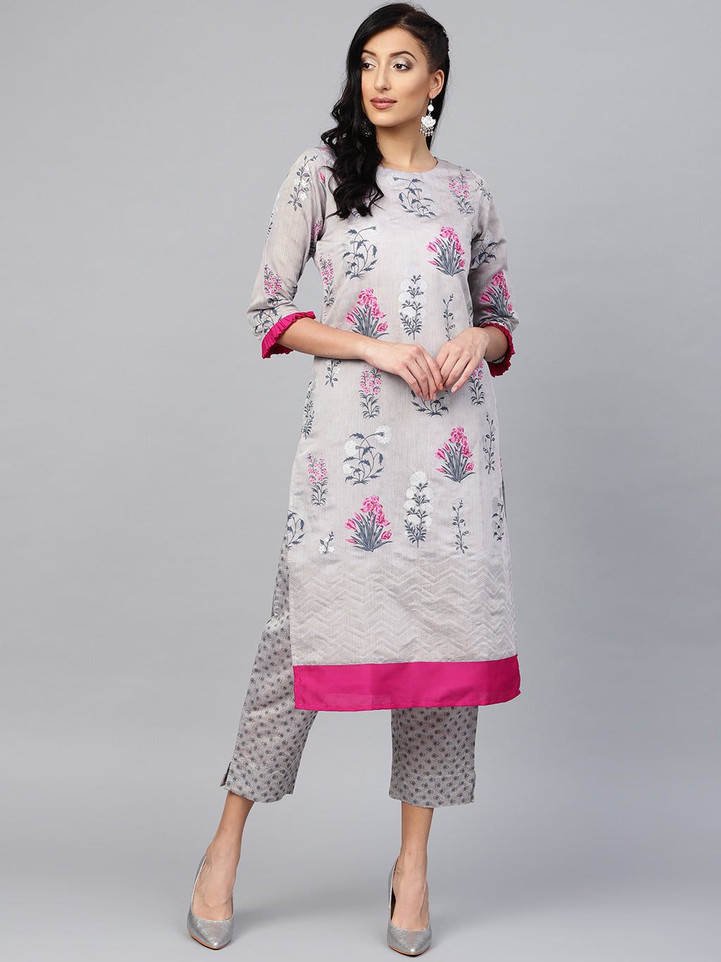 Grey Color Chanderi Silk Printed Kurti With Bottom NYF-5976