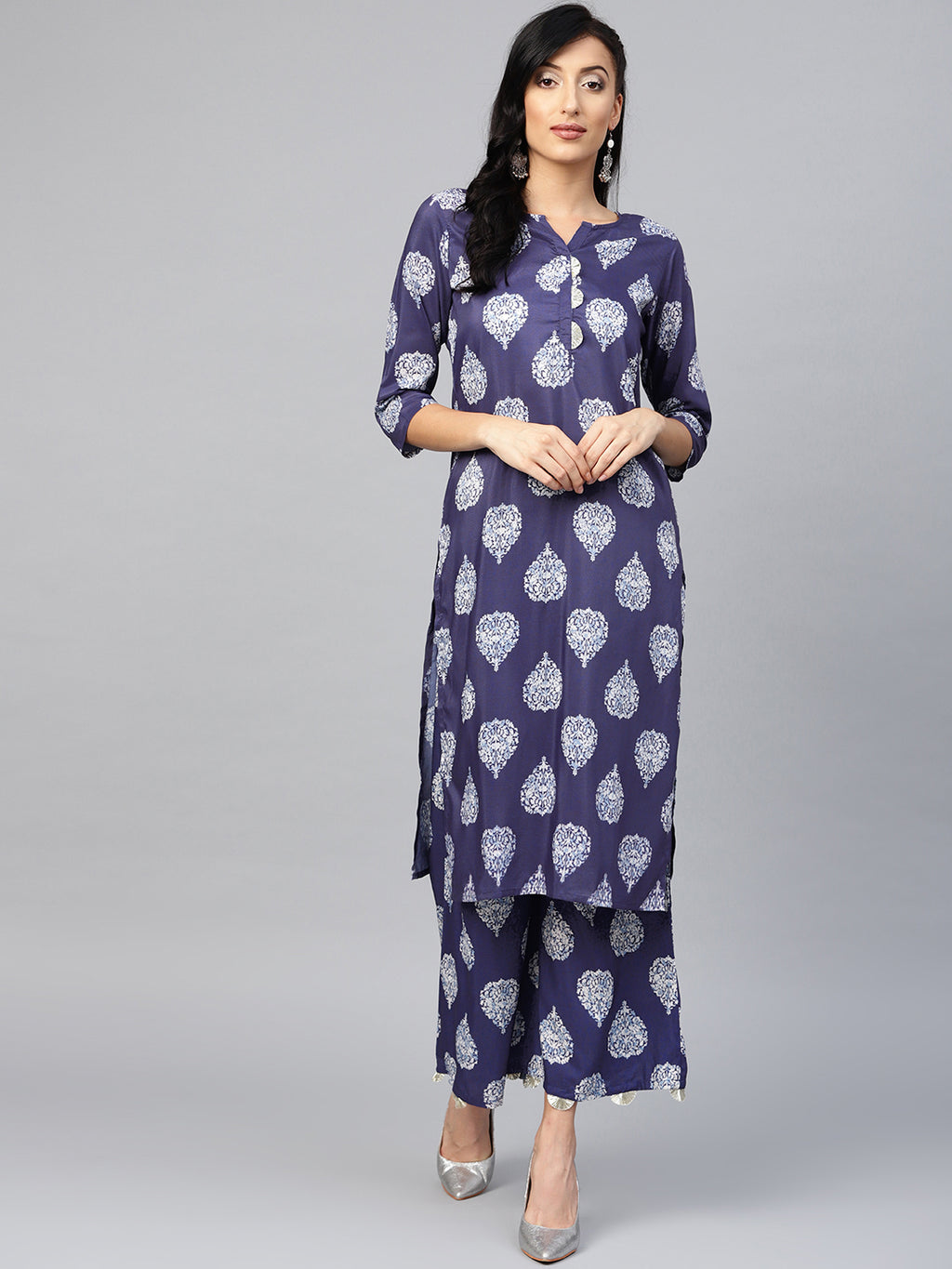 Blue Color Muslin Printed Kurti With Bottom NYF-5986