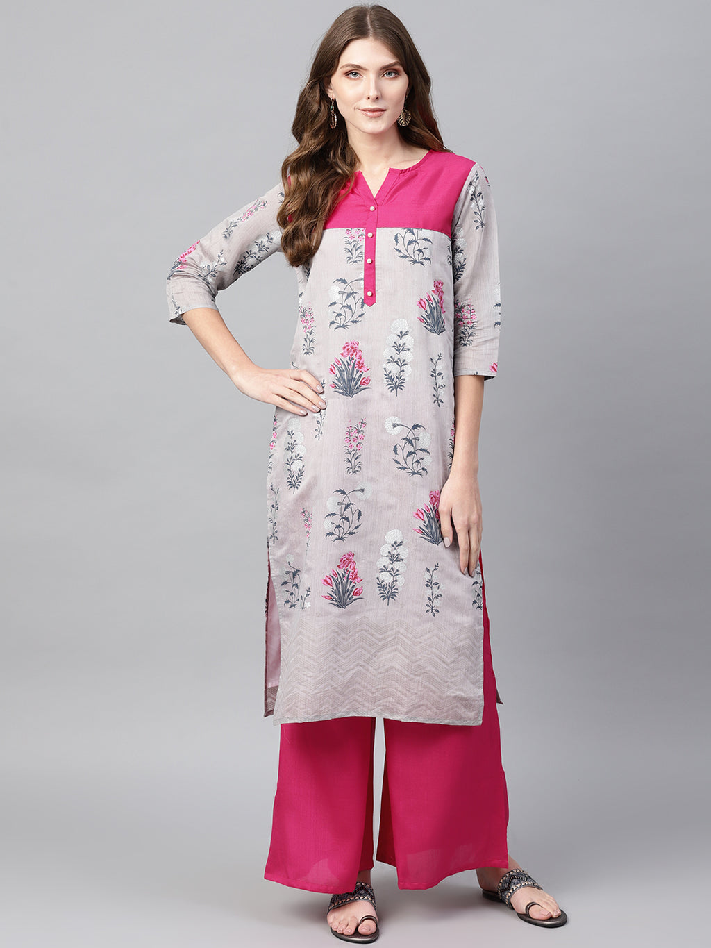 Grey Color Chanderi Silk Printed Kurti With Bottom NYF-5991
