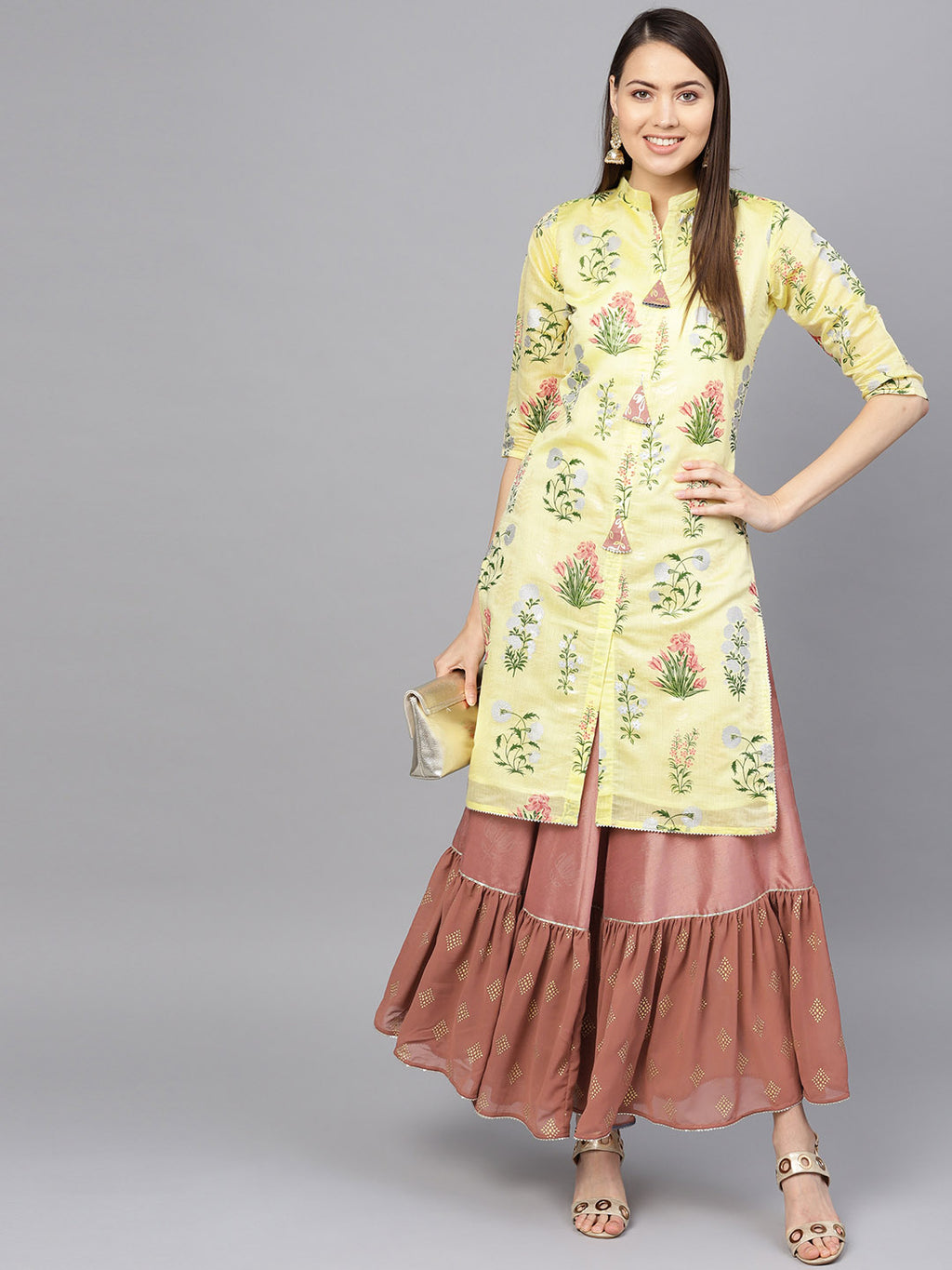 Yellow Color Chanderi Silk Printed Kurti With Bottom NYF-6006