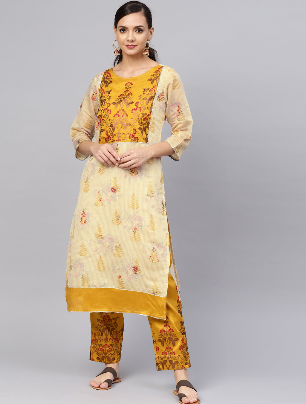 Cream Color Chanderi Silk Printed Kurti With Bottom NYF-6011