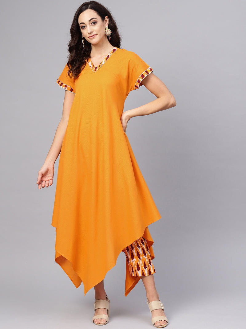 Mustard Yellow Color Cotton  Printed Kurti With Bottom NYF-6021