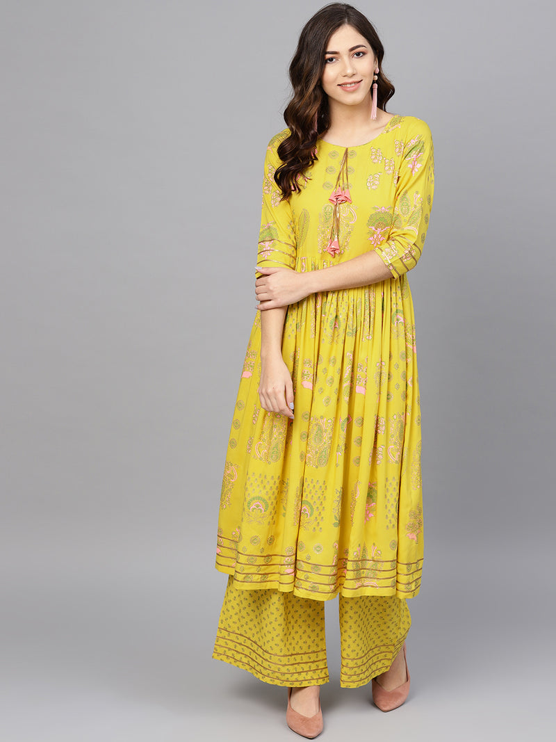 Yellow Color Rayon Printed Kurti With Bottom NYF-6026