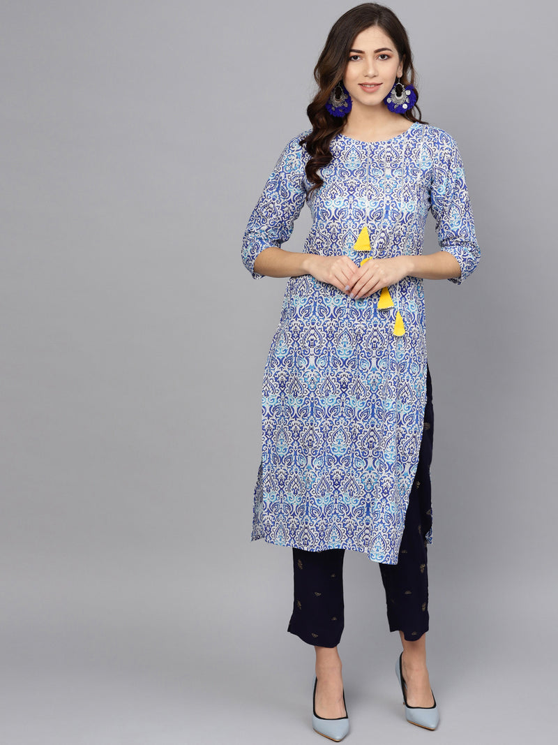 Blue Color Cotton  Printed Kurti With Bottom NYF-6031