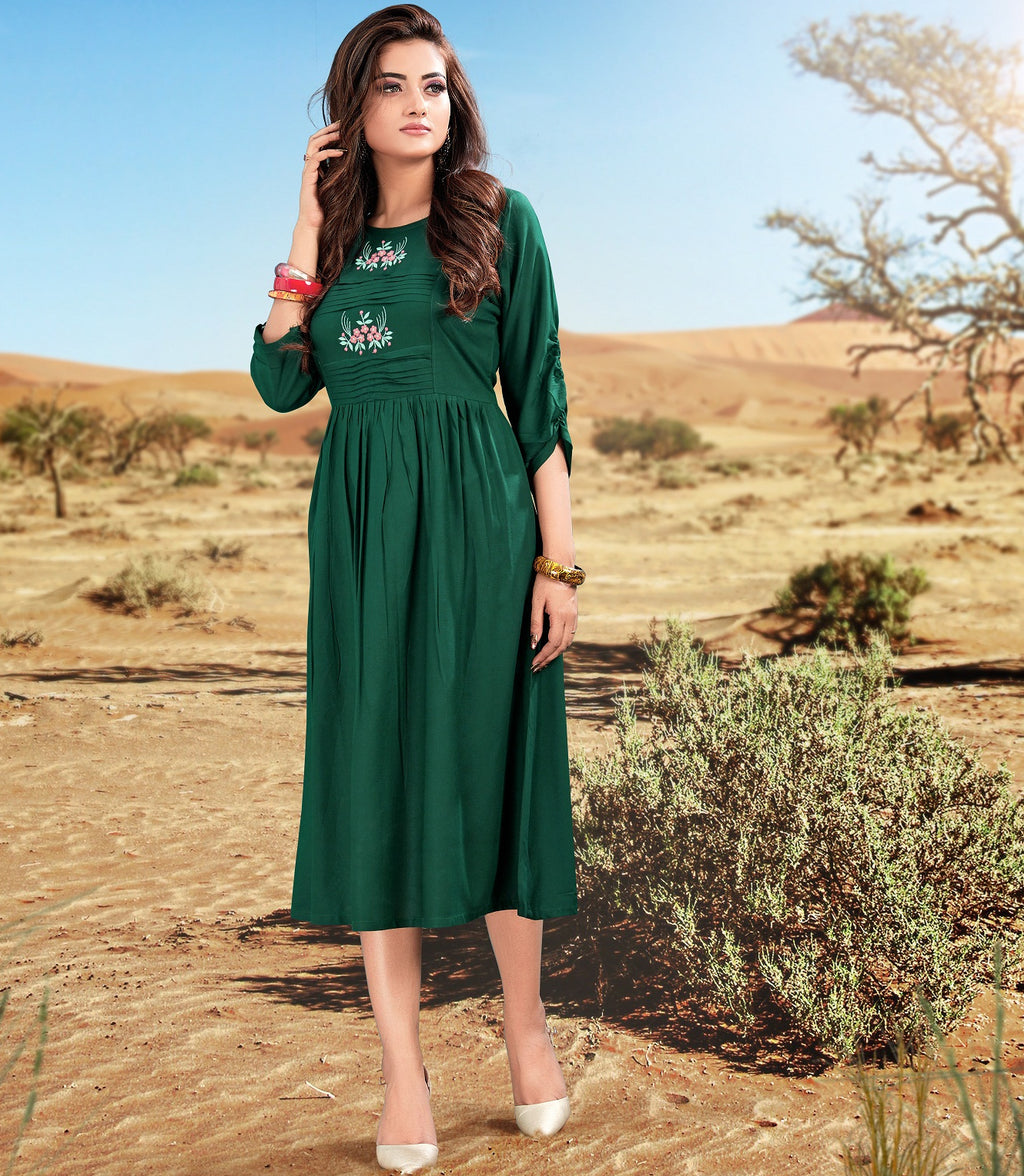 Green Color Rayon Readymade Casual Wear Kurtis NYF-5886