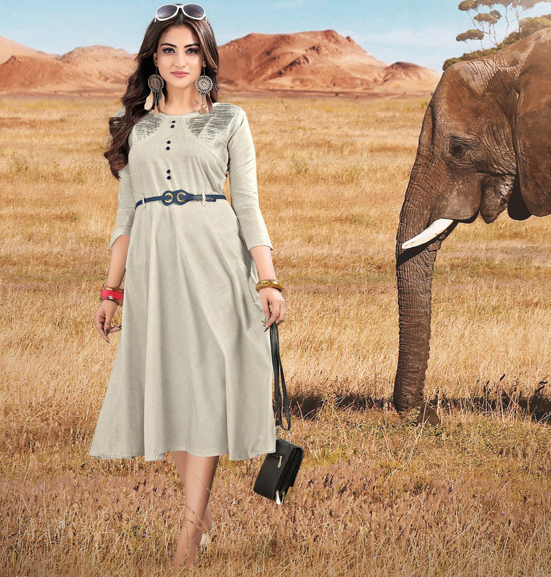 Grey Color Cotton Readymade Casual Wear Kurtis NYF-5891