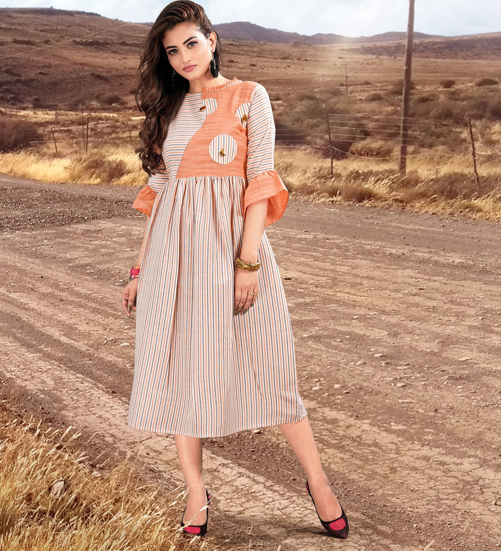 Off-White & Peach Color Cotton Readymade Casual Wear Kurtis NYF-5896