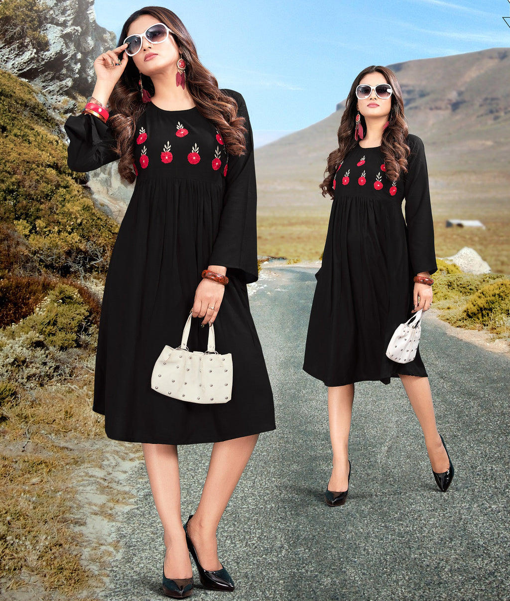 Black Color Rayon Readymade Casual Wear Kurtis NYF-5901