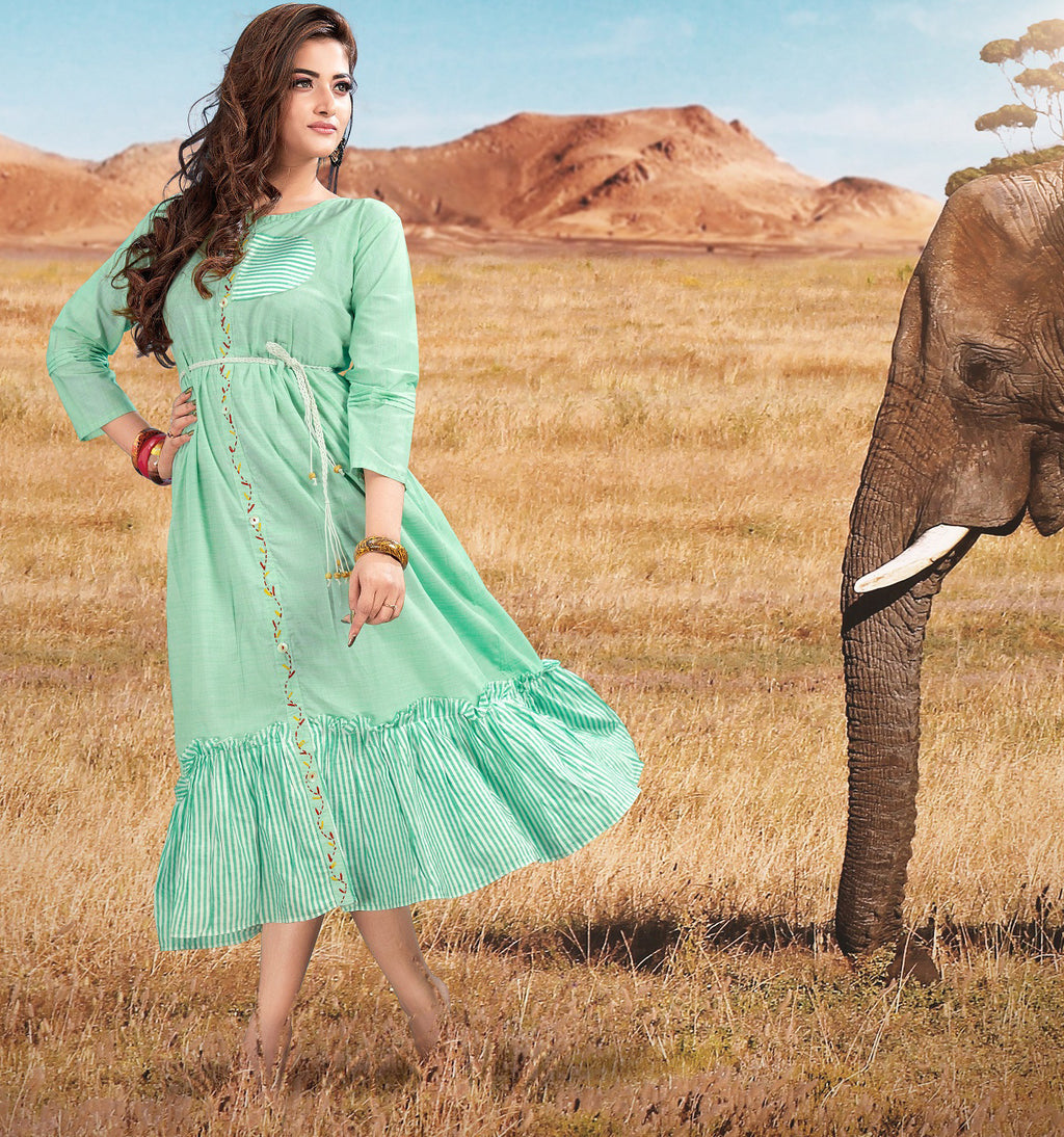 Sea Green Color Cotton Readymade Casual Wear Kurtis NYF-5906