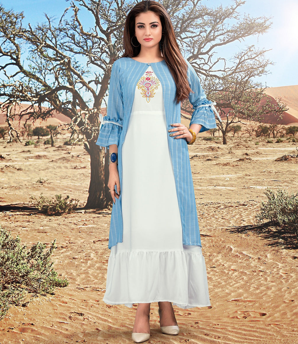 White & Blue Color Crepe (Shrug-Rayon) Readymade Casual Wear Kurtis NYF-5911