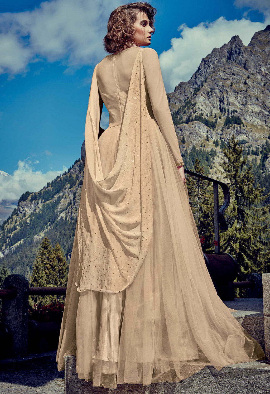 Beige Color Net Indo-Western Gowns With Dupatta NYF-7218