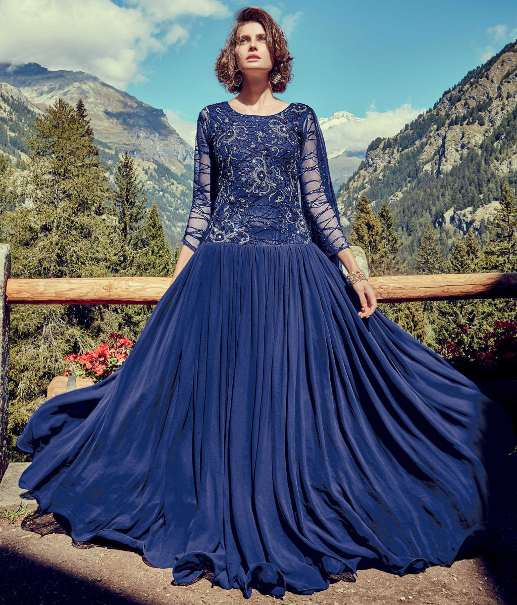 Royal Blue Color Georgette & Net Indo-Western Gowns With Dupatta NYF-7219