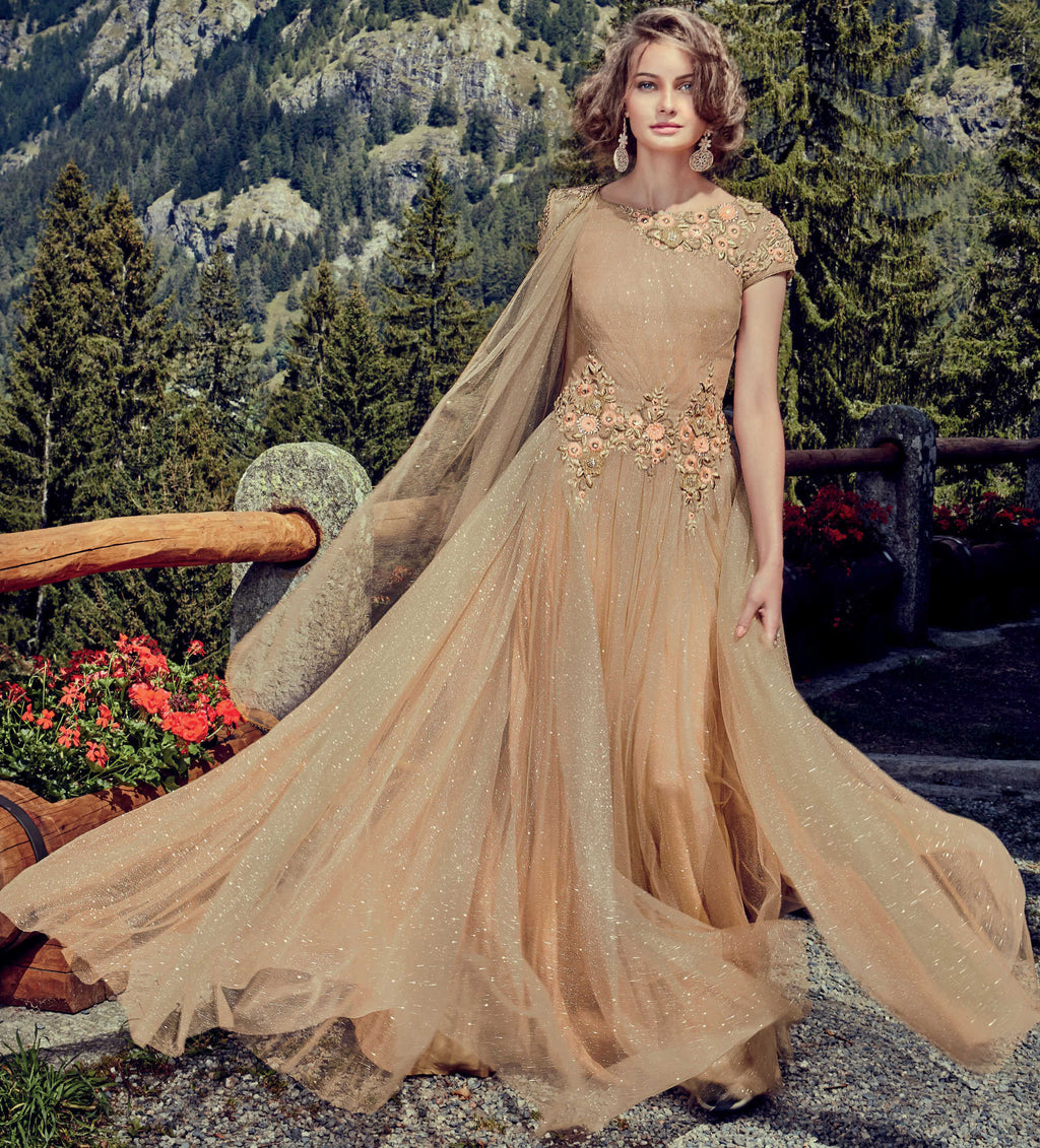 Beige Color Shimmer Net Indo-Western Gowns With Dupatta NYF-7221