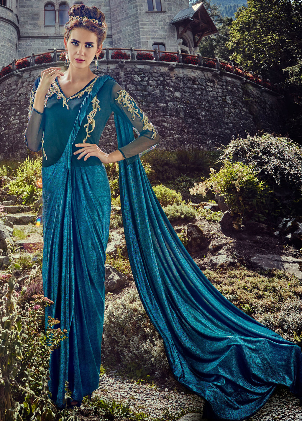 Blue Color Lycra Indo-Western Gowns  NYF-7222