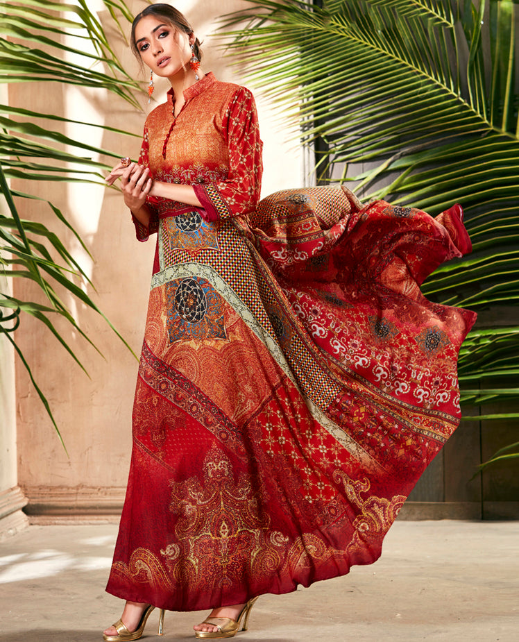 Red & Orange Color Soft Silk Casual Digital Print Gowns NYF-7119