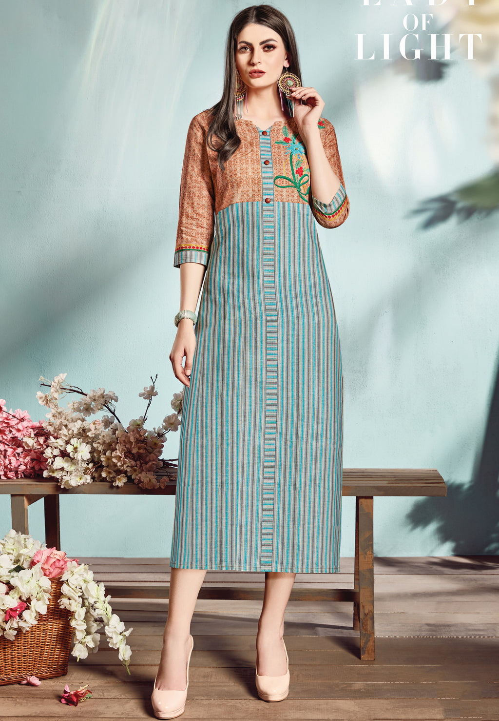 Blue & Brown Color Flex Cotton Designer Long Office Party Kurtis NYF-6482