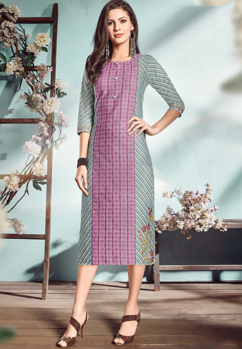 Purple & Blue Color Flex Cotton Designer Long Office Party Kurtis NYF-6488