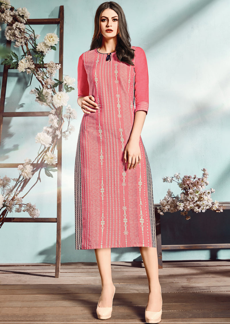 Pink Color Flex Cotton Designer Long Office Party Kurtis NYF-6491