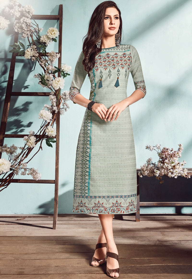 Multi Color Flex Cotton Designer Long Office Party Kurtis NYF-6497