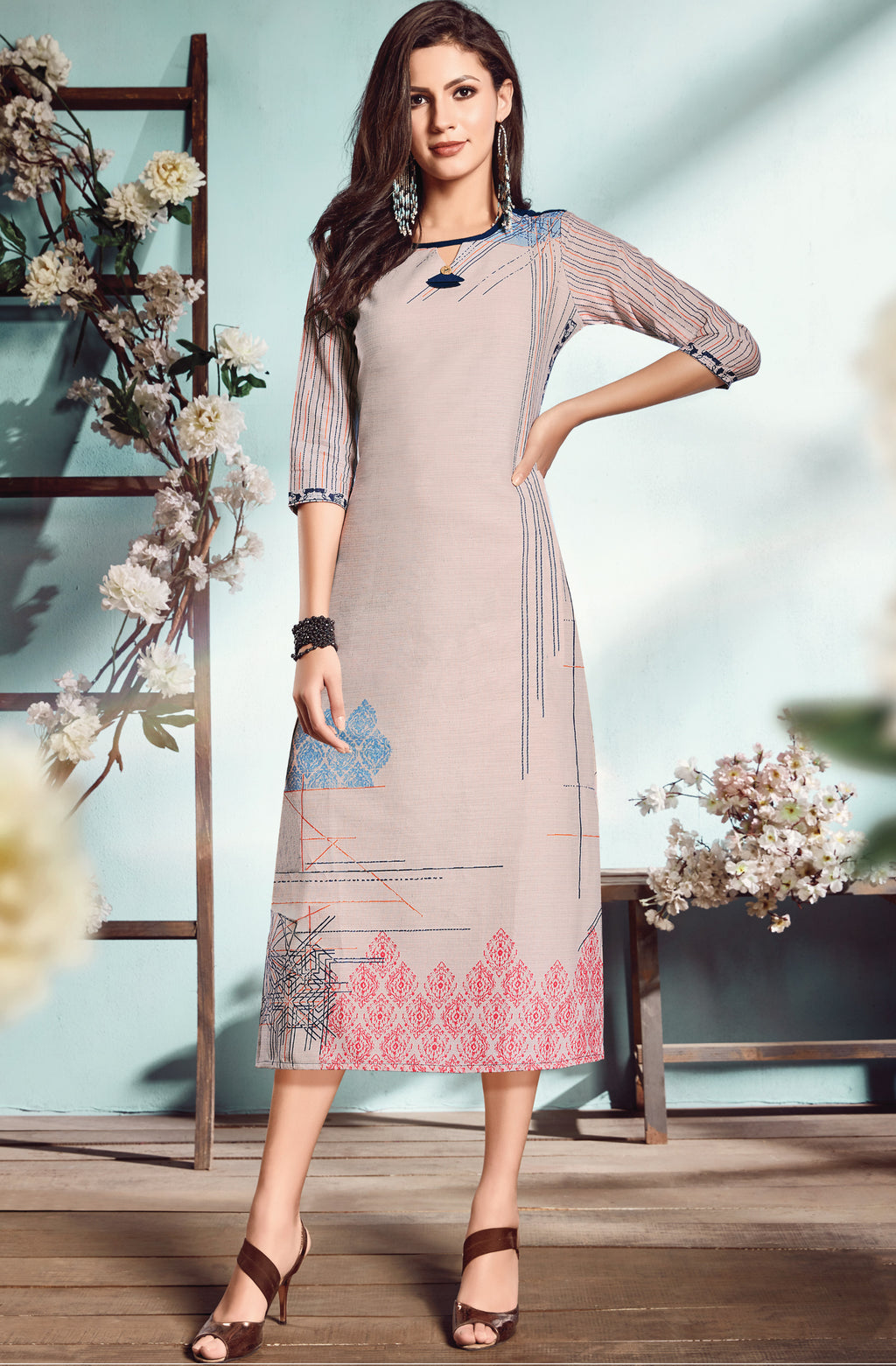 Dusty Pink Color Flex Cotton Designer Long Office Party Kurtis NYF-6500