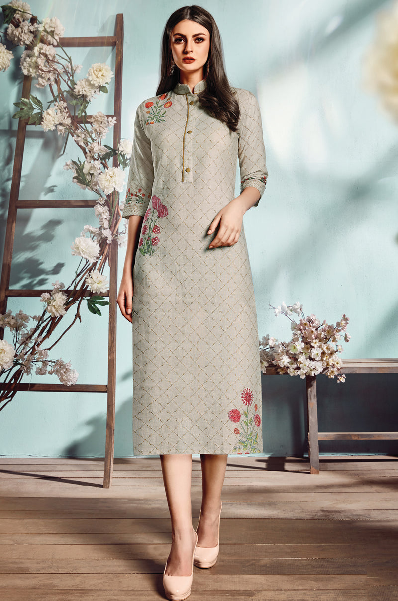 Multi Color Flex Cotton Designer Long Office Party Kurtis NYF-6503