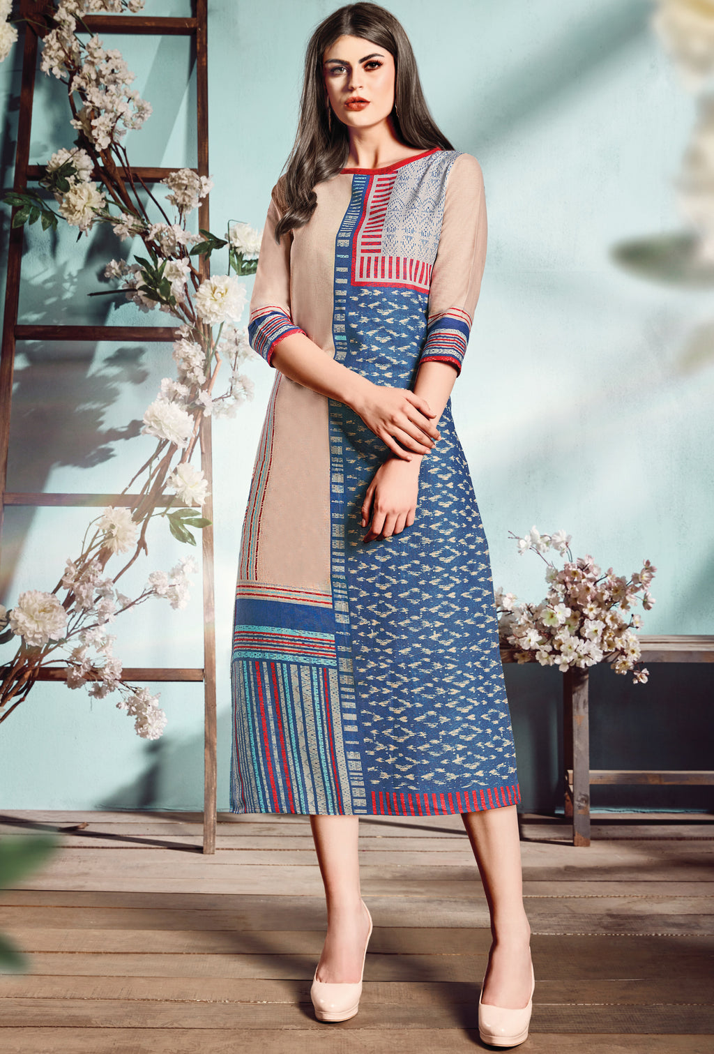 Blue Color Flex Cotton Designer Long Office Party Kurtis NYF-6506
