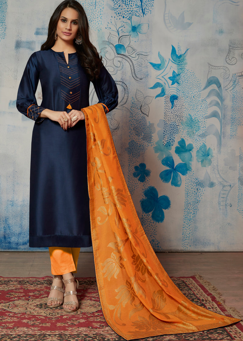 Blue Color Muslin Readymade Kurti With Dupatta NYF-6424