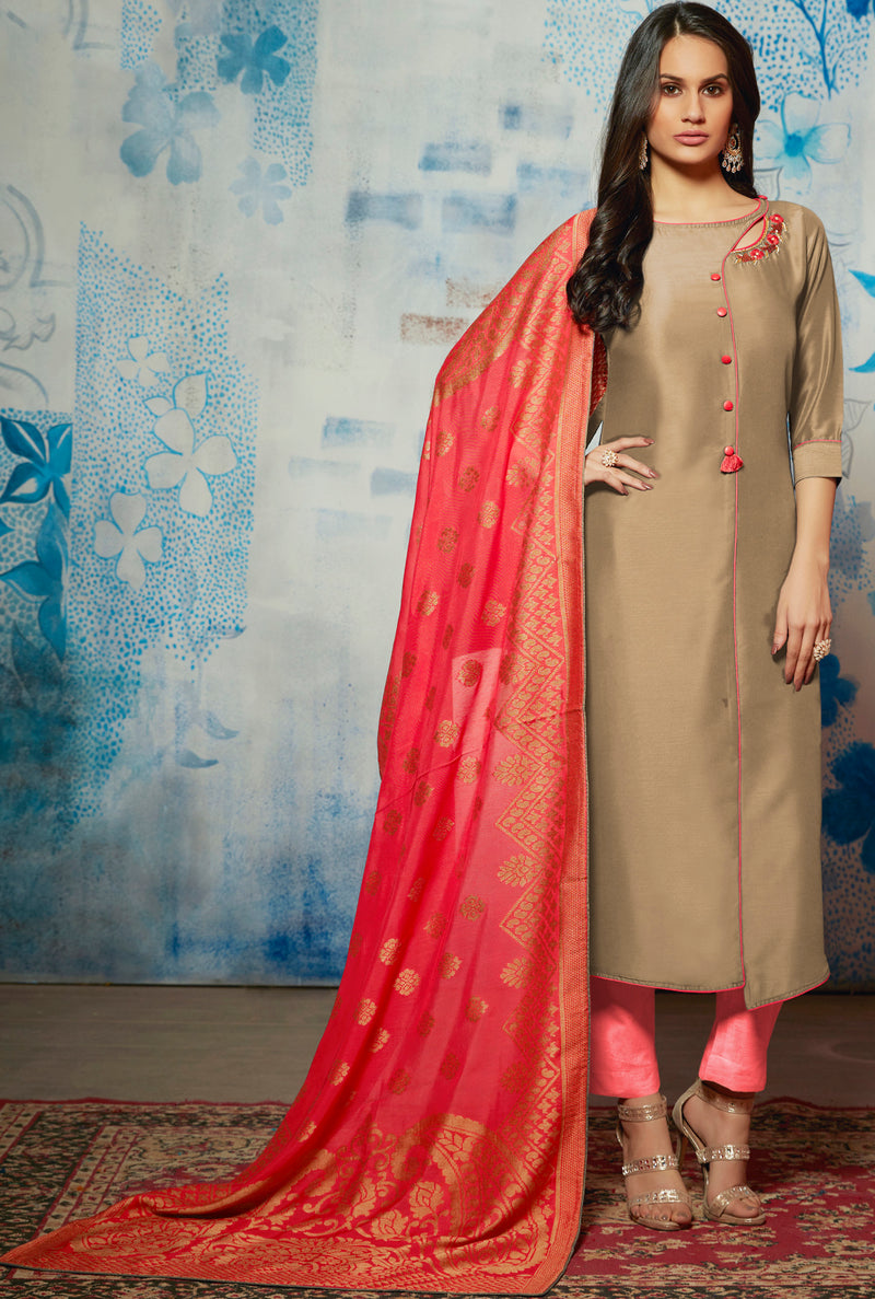 Beige Color Muslin Readymade Kurti With Dupatta NYF-6427