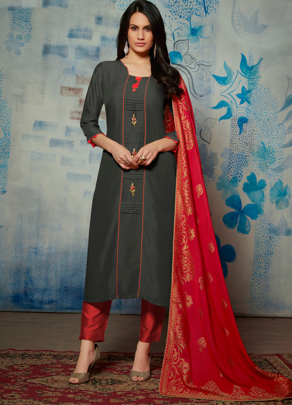 Dark Grey Color Muslin Readymade Kurti With Dupatta NYF-6433