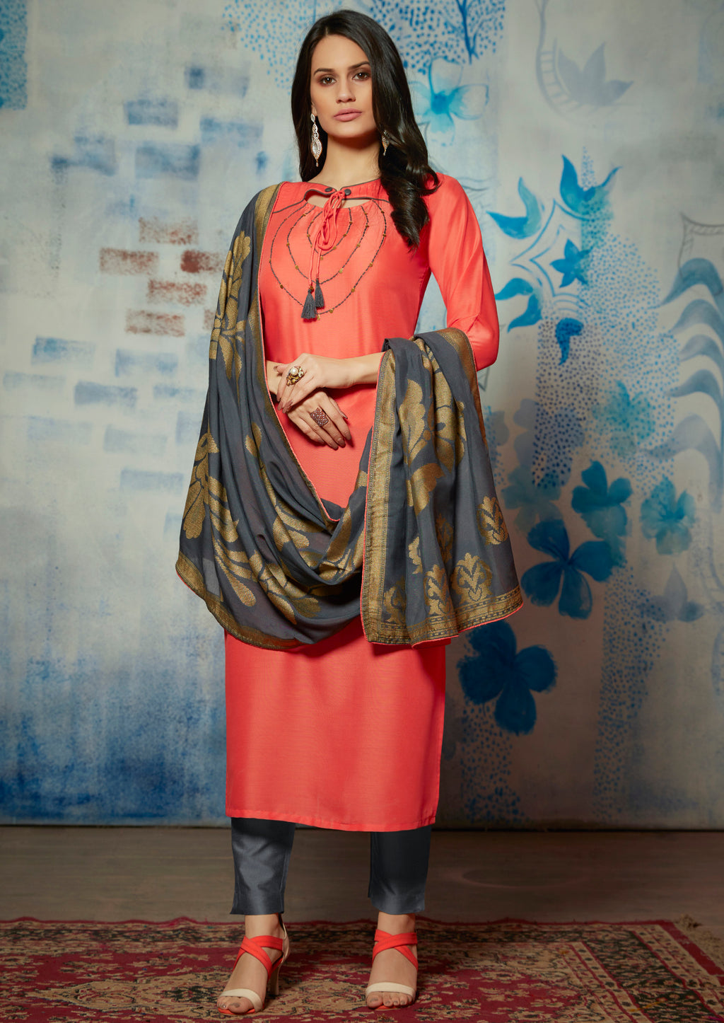 Peach Color Muslin Readymade Kurti With Dupatta NYF-6436