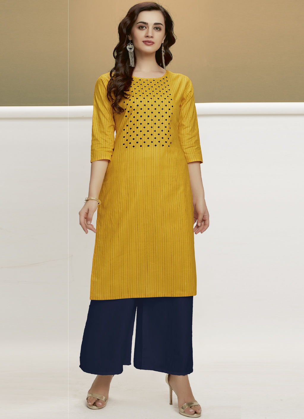 Yellow Color Handloom Cotton Casual Kurtis With Palazzo NYF-6439