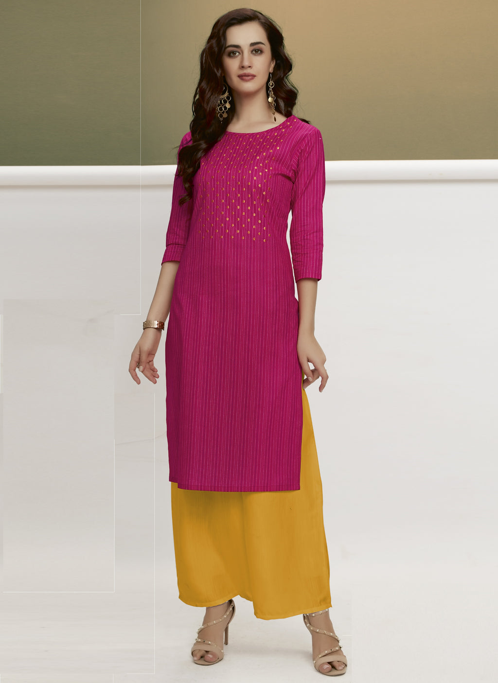 Rani Pink Color Handloom Cotton Casual Kurtis With Palazzo NYF-6443