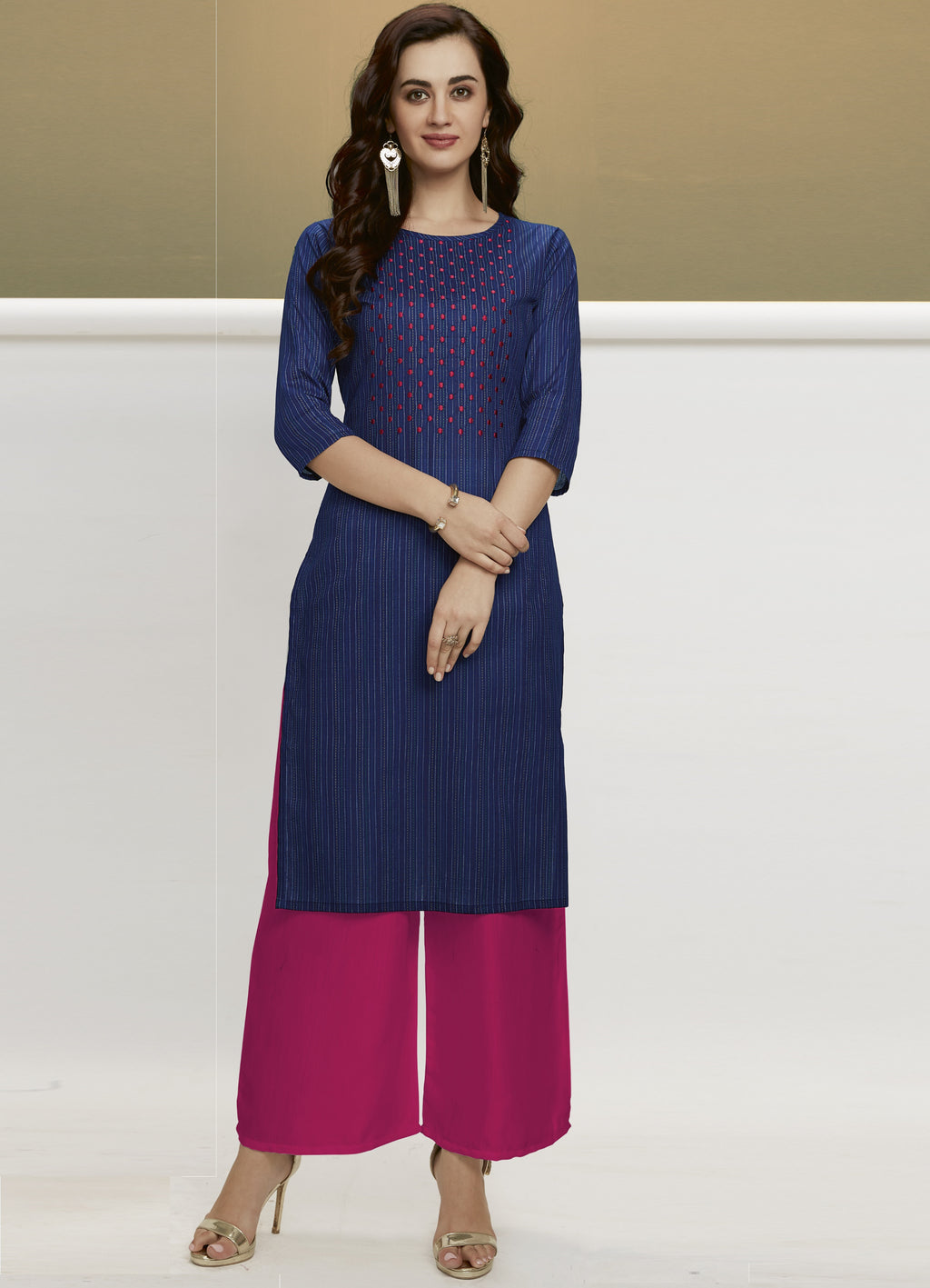 Blue Color Handloom Cotton Casual Kurtis With Palazzo NYF-6447