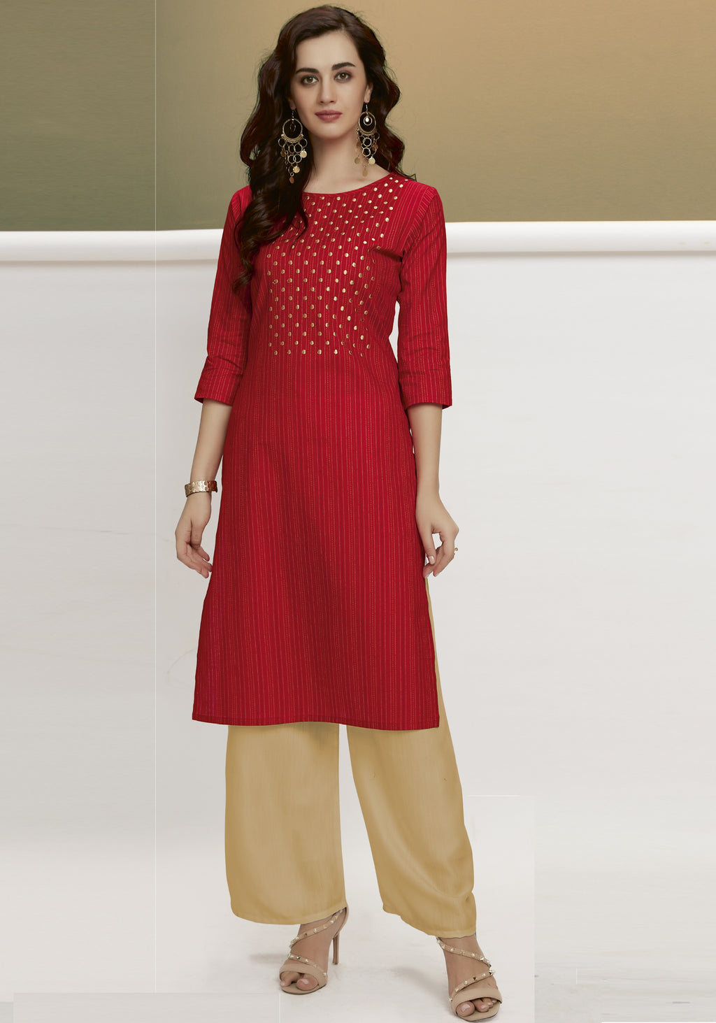 Red Color Handloom Cotton Casual Kurtis With Palazzo NYF-6451