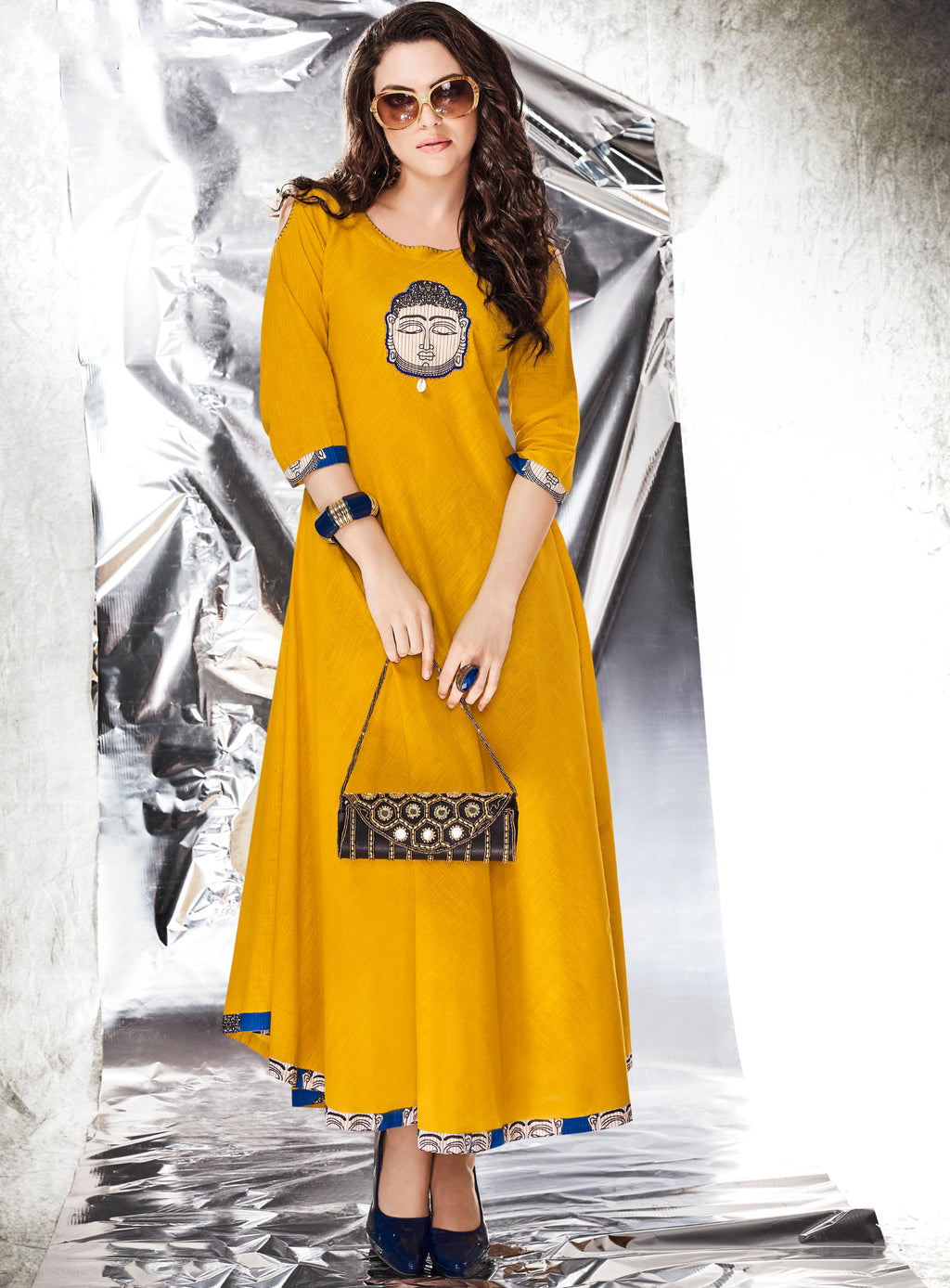 Yellow Color Slub Cotton Long Daily Wear Kurtis NYF-7086