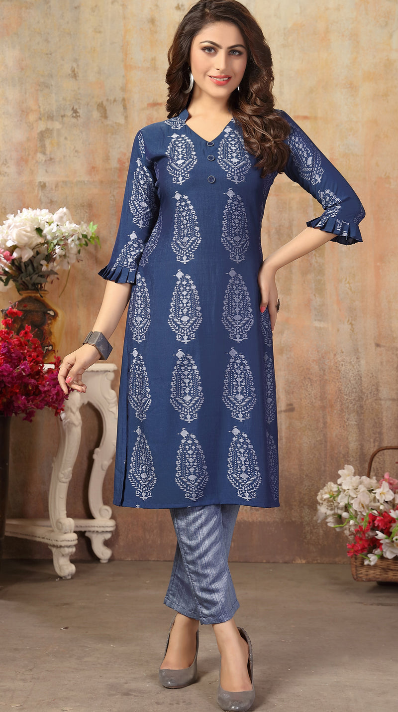 Blue Color Cotton Silk Casual Kurti With Bottom NYF-6509