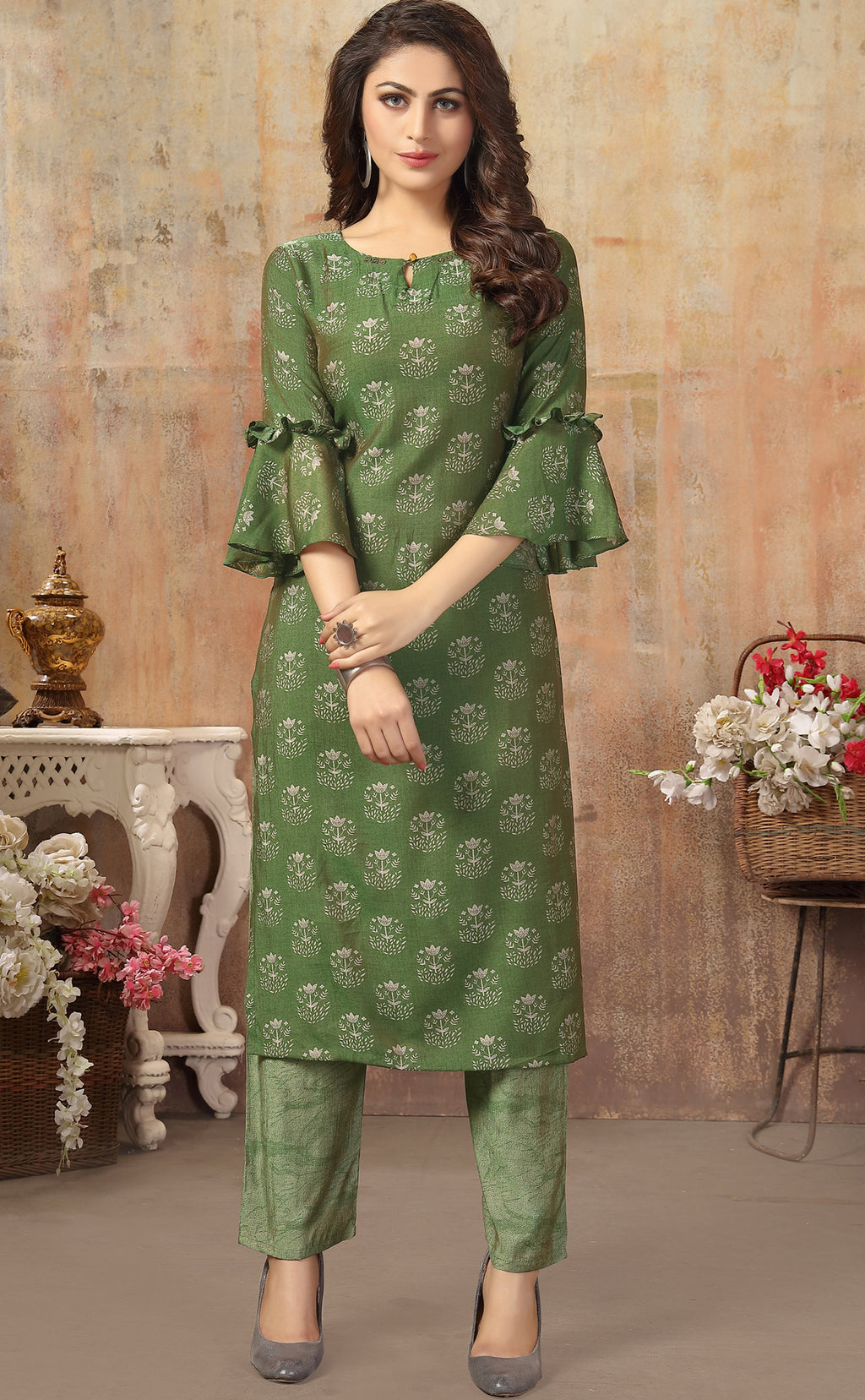 Green Color Cotton Silk Casual Kurti With Bottom NYF-6513
