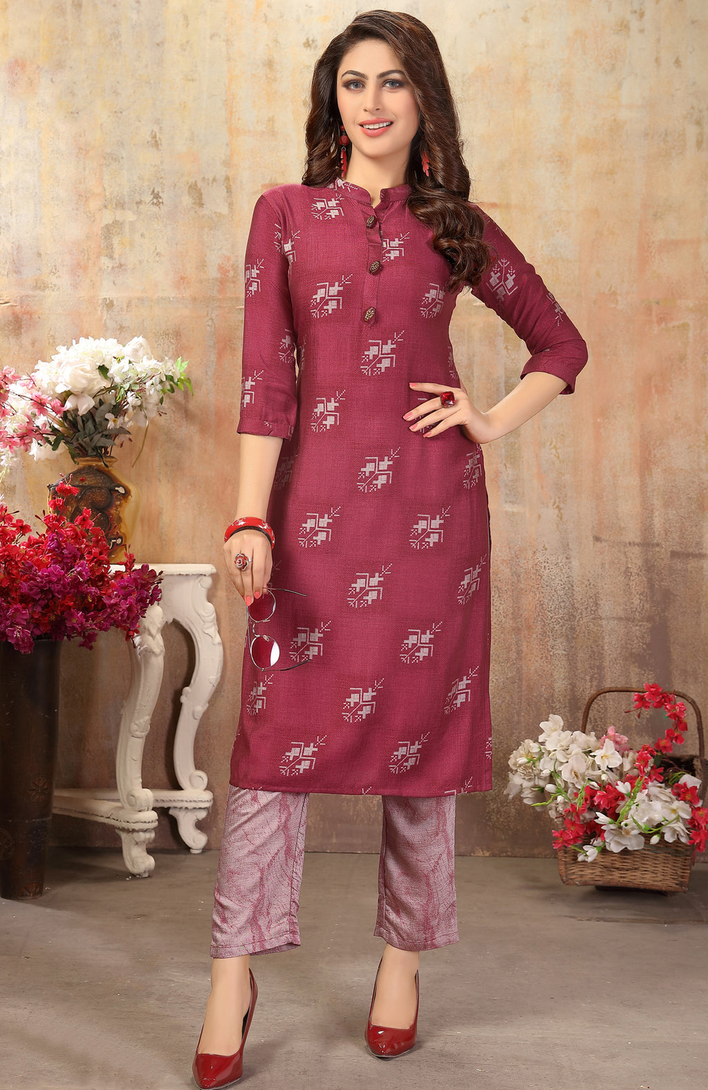 Magenta Color Cotton Silk Casual Kurti With Bottom NYF-6521