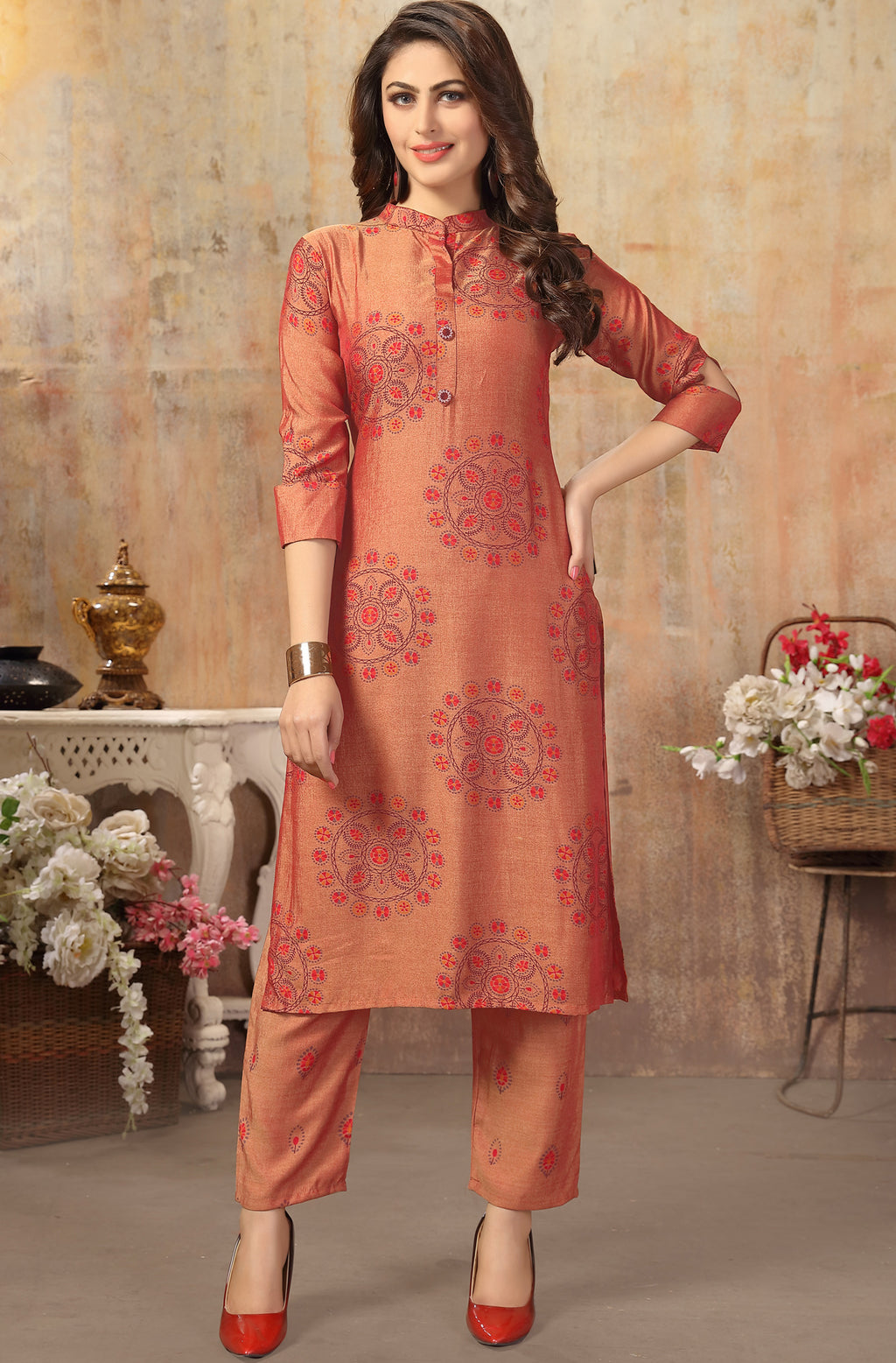 Orange Color Cotton Silk Casual Kurti With Bottom NYF-6525