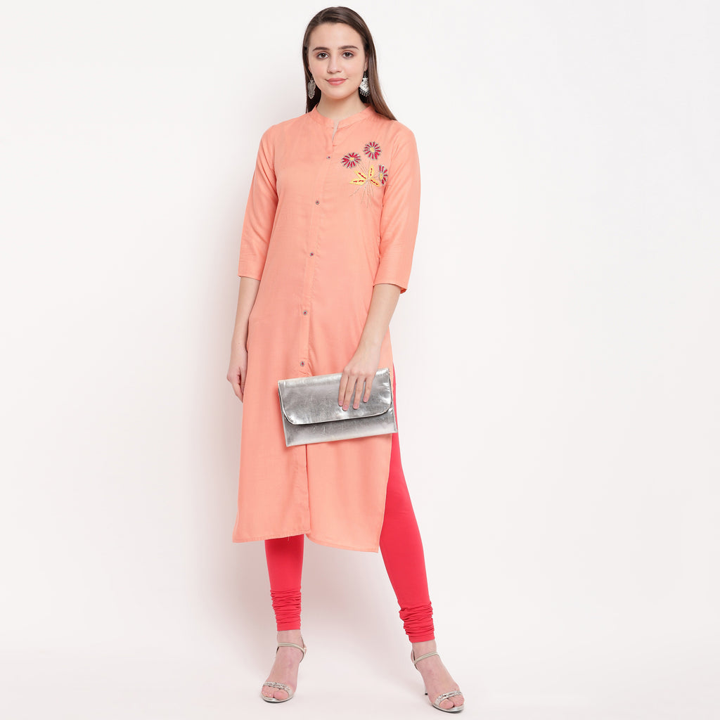 Peach Color Rayon Casual Office Wear Kurtis NYF-6455